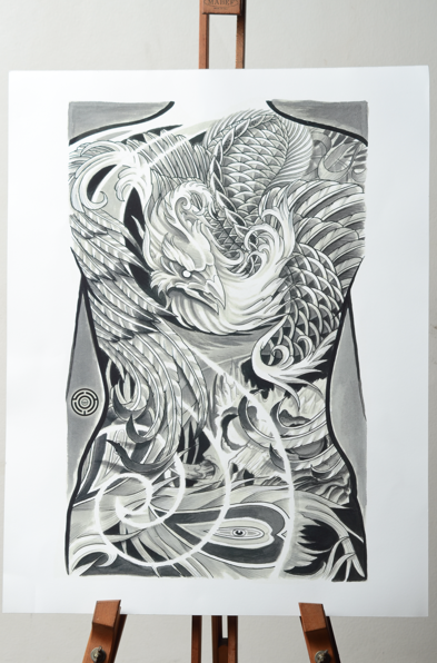 Phoenix tattoo art print delirium art design for Laos tattoo designs